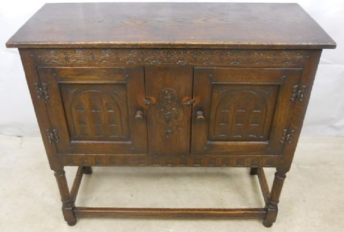 Antique Jacobean Style Carved Side Cabinet - SOLD